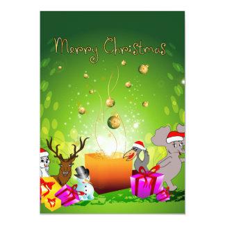 Dibujo animado divertido del navidad invitación 12,7 x 17,8 cm