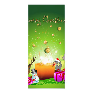 Dibujo animado divertido del navidad invitación 10,1 x 23,5 cm