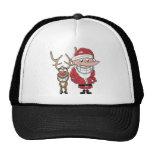 Dibujo animado divertido Santa y Rudolph Gorras