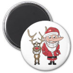 Dibujo animado divertido Santa y Rudolph Imán Para Frigorifico