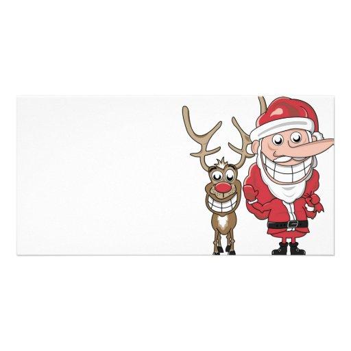 Dibujo animado divertido Santa y Rudolph Tarjetas Personales