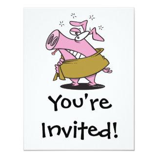 dibujo animado enfermo del cerdo de la gripe de invitación 10,8 x 13,9 cm