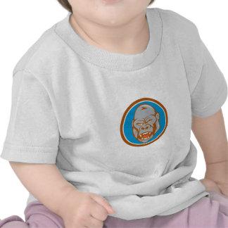 Dibujo animado enojado del círculo de la cabeza camisetas