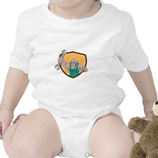Dibujo animado enojado del escudo de la llave traje de bebé