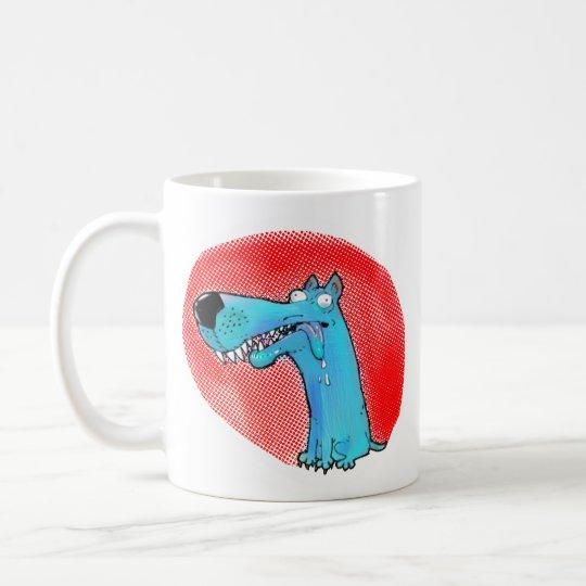 dibujo animado estúpido divertido del perro taza de café