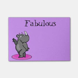 Dibujo animado fabuloso del rinoceronte notas post-it®