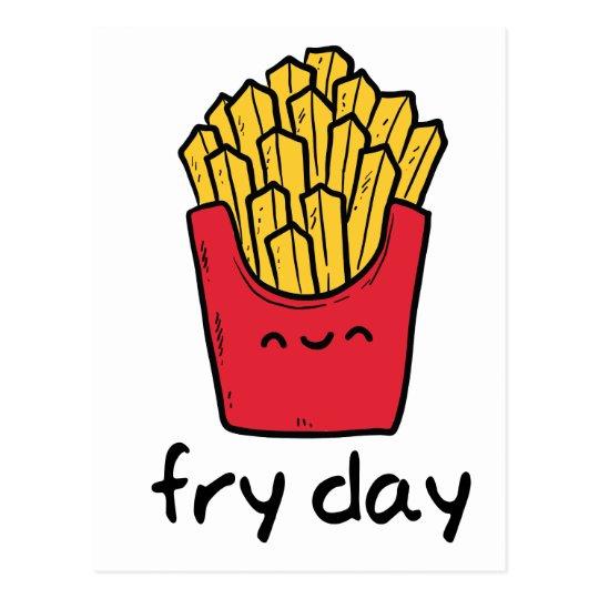 Dibujo animado feliz de las patatas fritas de postal