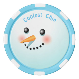 Dibujo animado fresco del muñeco de nieve del bebé fichas de póquer