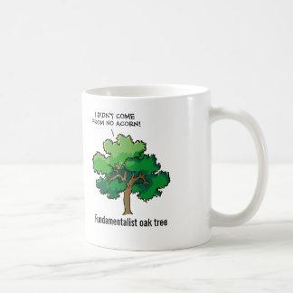 Dibujo animado fundamentalista del roble taza de café