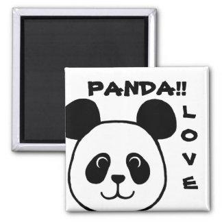 Dibujo animado grande de la panda de la cara imán cuadrado