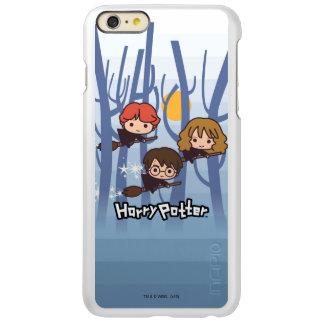 Dibujo animado Harry, Ron, y vuelo de Hermione en
