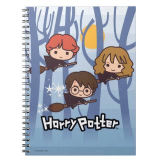 Dibujo animado Harry, Ron, y vuelo de Hermione en Cuaderno