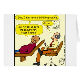 dibujo animado honorario de la licencia de licor tarjeta