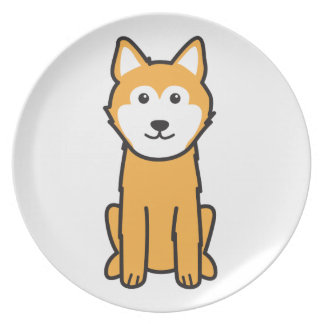 Dibujo animado islandés del perro del perro pastor platos de comidas