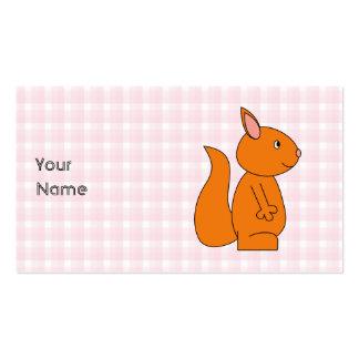 Dibujo animado lindo de la ardilla roja en control plantillas de tarjeta de negocio