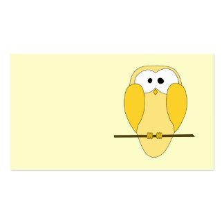 Dibujo animado lindo del búho Amarillo Tarjeta De Visita