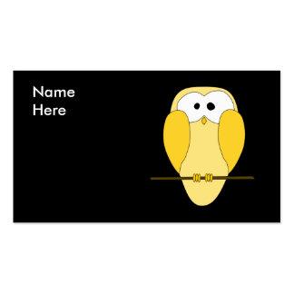 Dibujo animado lindo del búho Amarillo Tarjeta Personal