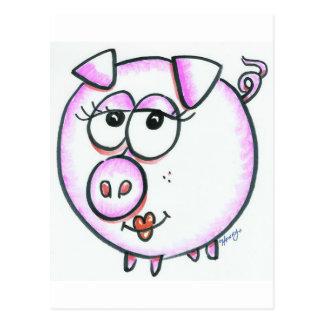 Dibujo animado lindo del cerdo postal