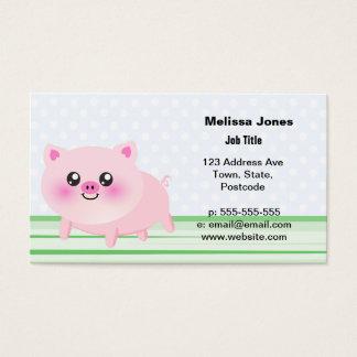 Dibujo animado lindo del cerdo tarjeta de negocios