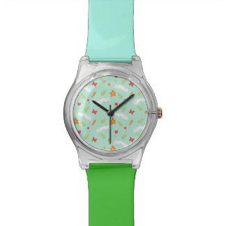 Dibujo animado lindo del conejito feliz reloj de pulsera