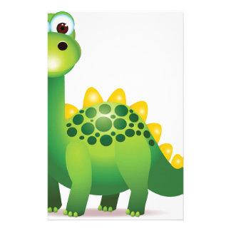 Dibujo animado lindo del dinosaurio verde papelería