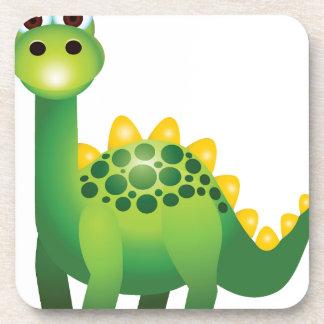 Dibujo animado lindo del dinosaurio verde posavasos
