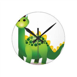 Dibujo animado lindo del dinosaurio verde reloj redondo mediano