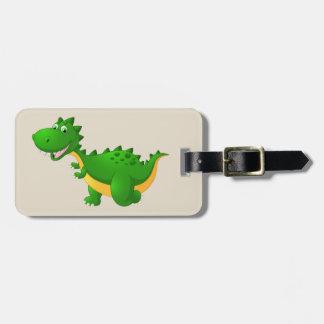 Dibujo animado lindo del dragón etiqueta para maletas
