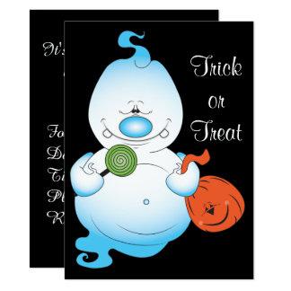 Dibujo animado lindo del fantasma de Halloween Invitación 13,9 X 19,0 Cm