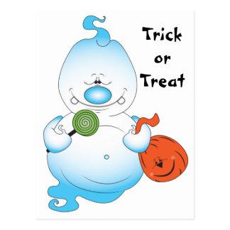 Dibujo animado lindo del fantasma de Halloween Postal