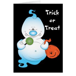 Dibujo animado lindo del fantasma de Halloween Tarjeta De Felicitación
