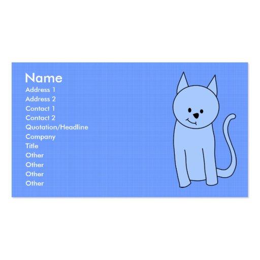 Dibujo animado lindo del gato azul tarjetas de visita