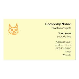 Dibujo animado lindo del gato del jengibre, en la tarjetas de visita