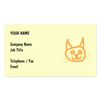 Dibujo animado lindo del gato del jengibre en la plantillas de tarjetas de visita