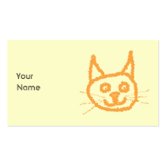 Dibujo animado lindo del gato del jengibre, en la  tarjeta personal