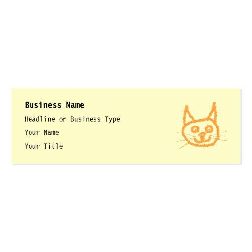 Dibujo animado lindo del gato del jengibre, en la  tarjeta de visita