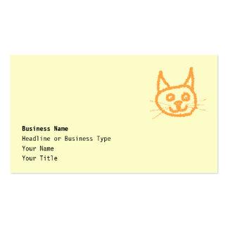 Dibujo animado lindo del gato del jengibre en la tarjetas de visita