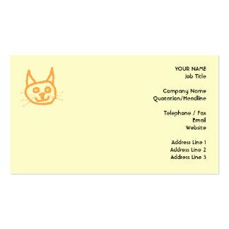 Dibujo animado lindo del gato del jengibre en la plantillas de tarjeta de negocio