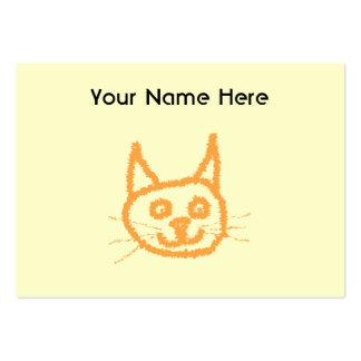 Dibujo animado lindo del gato del jengibre, en la tarjetas de visita grandes