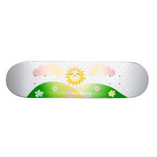 Dibujo animado lindo del kawaii del sol monopatin