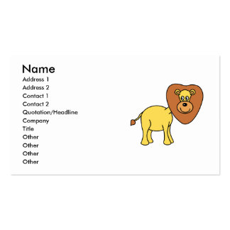 Dibujo animado lindo del león plantilla de tarjeta de negocio