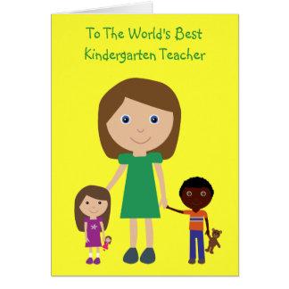 Dibujo animado lindo del mejor maestro de jardín tarjeta de felicitación