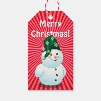 Dibujo animado lindo del niño del muñeco de nieve etiquetas para regalos