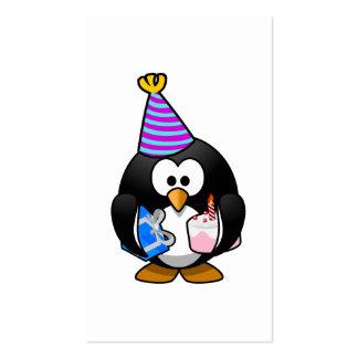 Dibujo animado lindo del pingüino del fiesta tarjetas de visita