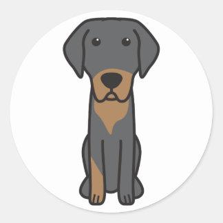 Dibujo animado lituano del perro de caza pegatina redonda