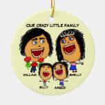 Dibujo animado loco de la familia del navidad adornos de navidad