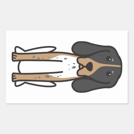 Dibujo animado majestuoso del perro de caza del rectangular pegatinas