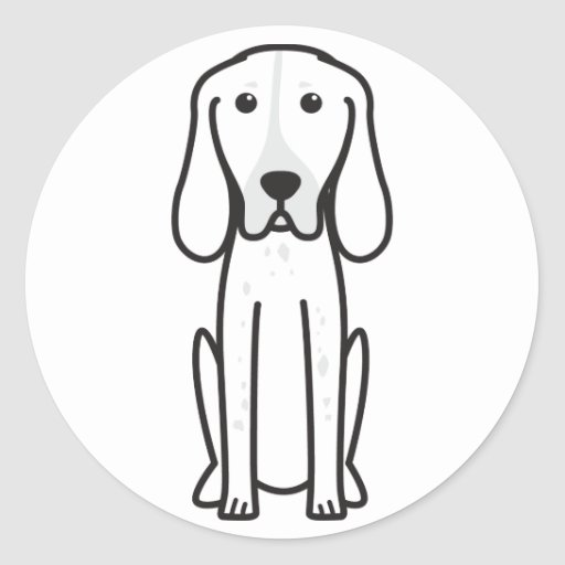 Dibujo animado majestuoso del perro de caza del etiqueta redonda