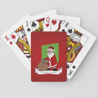 Dibujo animado negro de Papá Noel Cartas De Póquer