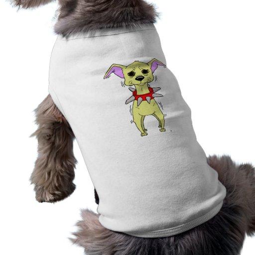 Dibujo animado nervioso de la chihuahua ropa para mascota de Zazzle.